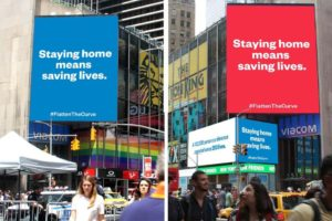 Alexis Ohanian wants you to stay home, and he's using Times Square to send the message.  The Reddit co-founder and venture capitalist