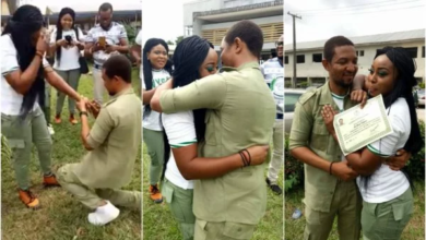 Photo of Corper proposes to his corper girlfriend in Warri (photos)