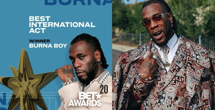Burna Boy wins Best International Act at BET Awards 2020 (Watch video).  Burna Boy has won the Best International Act for the second consecutive year